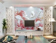 玉雕花卉装饰背景墙