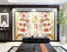 花卉浮雕电视墙