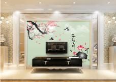 水墨桃花背景墙