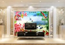 白鹤花卉装饰背景墙