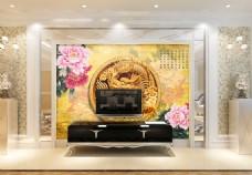 金色龙花卉背景墙