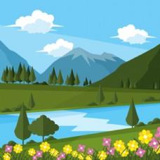卡通春天的风景