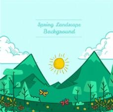 卡通春季山谷的风景