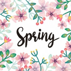 手绘水粉春季花卉背景