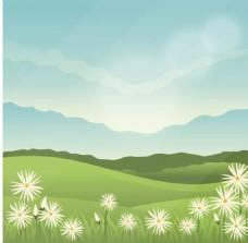 卡通春季山坡上的风景