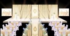 香槟色婚礼效果图高端大气金色灯光