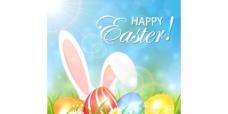 春季背景与彩色复活节彩蛋和兔矢量