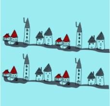 卡通手绘矢量房子
