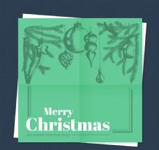 手绘绿色圣诞卡