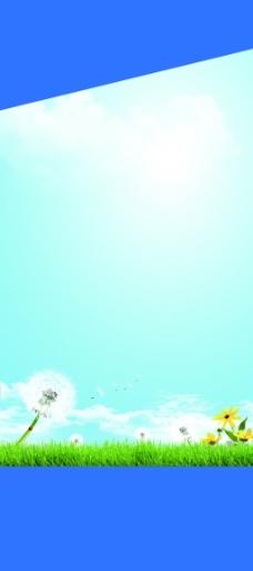 蓝色花朵展板背景