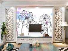荷花花卉装饰背景墙