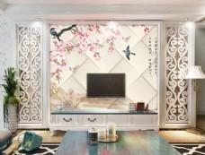 桃花方块背景墙