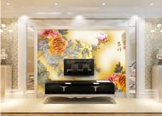 牡丹花卉电视墙