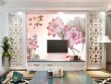 粉色荷花装饰背景墙
