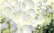 3D圆圈花朵电视背景墙