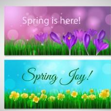 春季花卉花草横幅