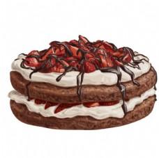 手绘草莓巧克力蛋糕