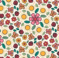 五彩春季花卉蝴蝶瓢虫