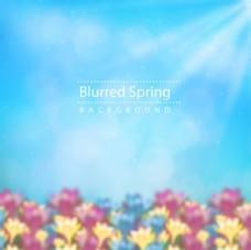朦胧春季花卉海报背景