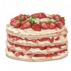 手绘奶油草莓蛋糕