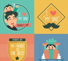4款创意父亲节卡片矢量素材