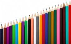 排成斜的彩色铅笔图片