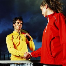 网球队员握手图片