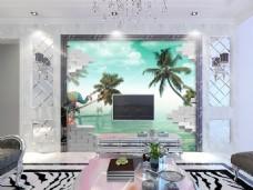 椰子树热带装饰背景墙