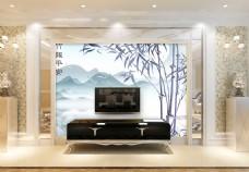 水墨风景背景墙