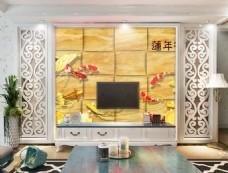 金鱼装饰花卉背景墙