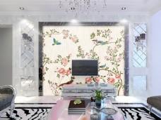 花卉装饰墙壁