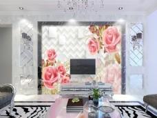 粉色花卉电视墙装饰