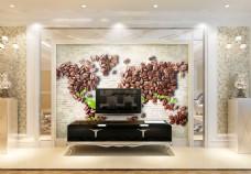 咖啡豆地图背景墙