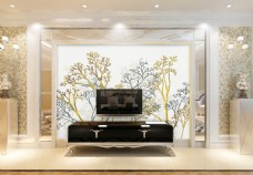 抽象树枝背景墙