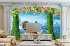 天空花卉背景墙
