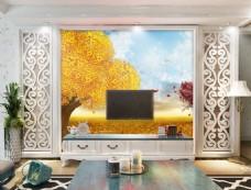 金色树木装饰背景墙