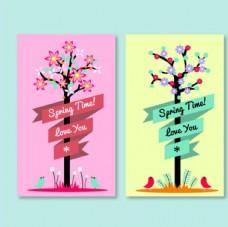 两款春季花鸟树木海报