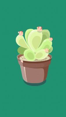 植物盆栽花多肉矢量插画卡通绘画儿童
