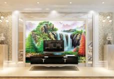 风景瀑布装饰画背景墙