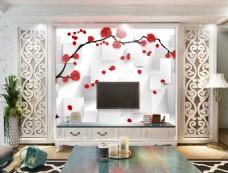 花卉点缀背景墙
