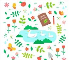 清新春天动物和花草元素设计