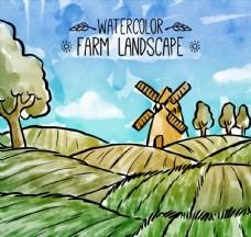 水彩绘农场风景矢量素材