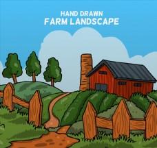 手绘农场风景矢量素材