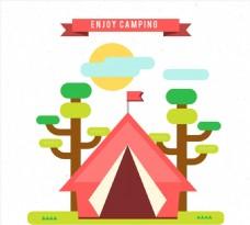 郊外野营帐篷矢量素材