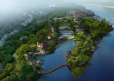 滨水景观规划设计鸟瞰图psd