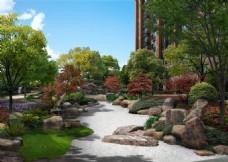 住宅小区景观设计效果图psd