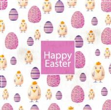 水彩复活节彩蛋小鸡背景