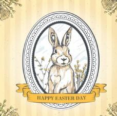 复古复活节兔子插图