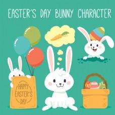 卡通复活节兔子元素