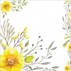 水彩手绘黄色花朵